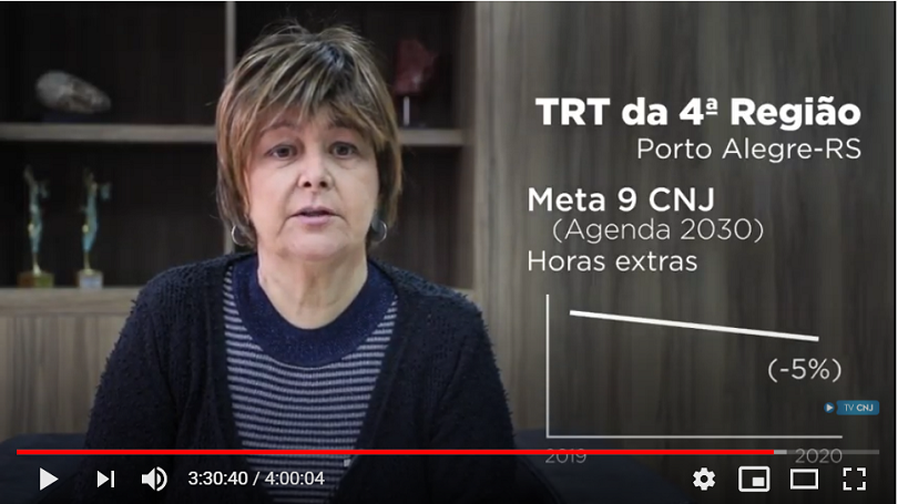 frame do vídeo gravado pela presidente do TRT-RS para o evento